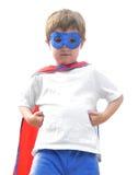 De moedige Super Jongen van de Held op Wit stock afbeeldingen