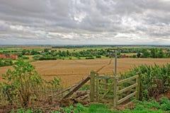 De Moerassen van Lincolnshire van een heuvel in Wolds worden gezien die Royalty-vrije Stock Foto