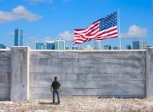 De mogelijke muur tussen de Verenigde Staten van Amerika en Mexico en de wereld stock afbeeldingen