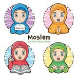 De mohammedaanse illustratie van het meisjes vastgestelde beeldverhaal stock afbeeldingen
