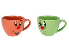 De mokken van de thee en koffiekoppen Stock Foto's