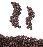 De mokken van het silhouet van koffiebonen. Stock Afbeeldingen
