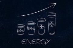 De mokken van de koffiereis naast elkaar in een grafiekstijl met Royalty-vrije Stock Foto