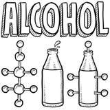 De molecule van de alcohol en flessenschets Stock Afbeeldingen