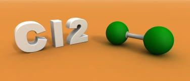 De molecule van de chloor Stock Afbeelding