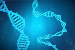 De molecule van schroefdna met gewijzigde genen Het verbeteren verandering door genetische biologie 3d concepten Moleculaire gene Royalty-vrije Stock Foto's