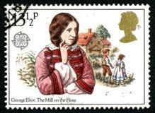 De Molen op de Zijde Britse Postzegel Stock Afbeelding