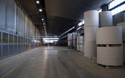 De molen van het papier en van de pulp plant - Broodjes van karton Royalty-vrije Stock Foto