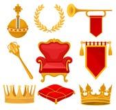De monarchieattributen plaatsen, gouden orb, lauwerkrans, trompet, troon, scepter, plechtig hoofdkussen, kroon, heraldische vlag, stock illustratie
