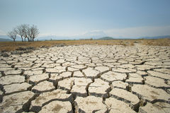 De mondiale verwarmende kwestie, gemalen land is droog, droogtevoorwaarden Stock Foto's