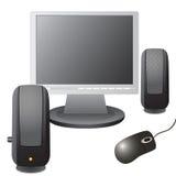 De monitor, computermuis, en muzikaal Stock Foto