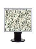 De monitor van de computer met geld royalty-vrije stock afbeelding