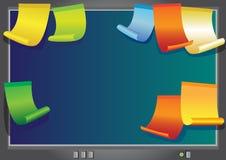 De monitor van de computer met stickers Stock Afbeeldingen