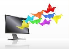 De monitor van de origami Stock Fotografie