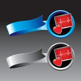 De monitor van het hart op blauwe en zilveren linten Stock Afbeeldingen
