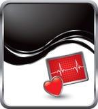 De monitor van het hart op zwarte golfachtergrond Stock Fotografie