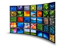 De monitormuur van verschillende media Stock Fotografie