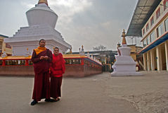 De monnik bij doet Drul Chorten Stupa Stock Foto's