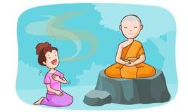 De monnik neemt mediteert en de praatzieke vrouwen Royalty-vrije Illustratie