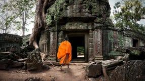 De monnik van Angkorwat De Khmer oude Boeddhistische tempel van Ta Prom in wildernis Stock Foto's