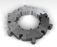 De monotone cirkel van het gradiëntraadsel in schaduwen van grijs Stock Fotografie