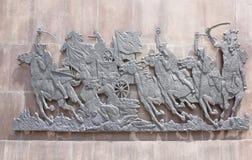 ` De monument d'abord de ` de cavaliers - sculpteur E Vucetich Consacré aux héros de la guerre civile, Rostov a libéré de guar bl Images stock