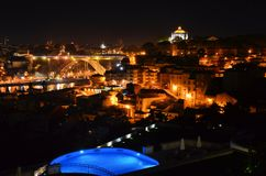 Stad van Porto bij nacht stock afbeelding