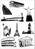 De monumenten van de wereld (Oriëntatiepunten) vector illustratie