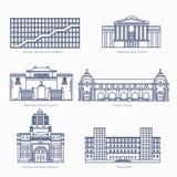 De monumenten verdunnen lijn vectorpictogrammen National Gallery van Kunst, Nationaal Paleismuseum, Orsay Stock Foto's