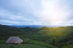 De mooie aard van de groene heuvels, de weiden en de plattelandshuisjes hebben kleine hutten Ideaal voor vakantievakantie royalty-vrije stock afbeeldingen
