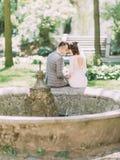 De mooie achterfoto van de jonggehuwden die hoofd-aan-hoofd op de oude fontein zitten Royalty-vrije Stock Foto's
