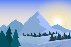 De mooie achtergrond van het de winterlandschap De winterlandschap met bergen royalty-vrije illustratie