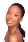De mooie Afrikaanse Amerikaanse Zwarte mensen van het vrouwengezicht, Geïsoleerde ov Royalty-vrije Stock Foto