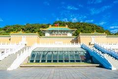 De mooie architectuur bouw buiten van oriëntatiepunt van nationaal het paleismuseum van Taipeh in Taiwan stock foto