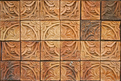 De mooie bakstenen muur met Thais lijnpatroon Royalty-vrije Stock Afbeelding