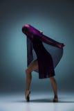 De mooie ballerina die met blauwe sluier dansen Royalty-vrije Stock Fotografie