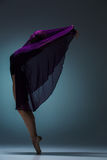 De mooie ballerina die met blauwe sluier dansen Royalty-vrije Stock Afbeelding