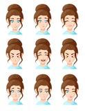 De mooie beeldverhaalvrouw ziet het tonen van het verschillende die pictogram van de emotieemoji van de emotiesvrouw voor de stij Royalty-vrije Stock Fotografie