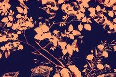 De mooie boomvogel en van de bloemenkunst schilderijen kleuren de roze en zwarte achtergrond en het behang van het illustratiepat royalty-vrije illustratie