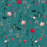 De mooie botanische bloeiende tuin bloeit naadloze patroonverticaal herhaalt in vectorontwerp voor stof, manier, textiel, Web, royalty-vrije illustratie