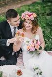 De mooie bruid in een huwelijkskleding met boeket en van de rozenkroon het stellen met bruidegom die huwelijk dragen past aan Stock Afbeelding