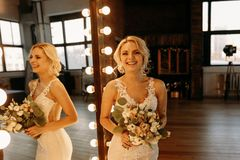 De mooie bruid is zeer emotioneel en lacht royalty-vrije stock afbeelding