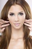 De mooie brunette van het portret Stock Foto's