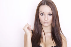 De mooie brunette van het portret Stock Foto