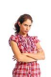 De mooie brunette is zeer boos royalty-vrije stock afbeelding