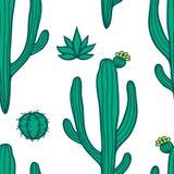 De mooie Cactussen vatten Natuurlijk Naadloos Patroon samen Stock Foto