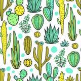 De mooie Cactussen vatten Natuurlijk Naadloos Patroon samen Stock Afbeelding