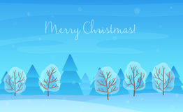 De mooie Chrismas-achtergrond van het de winterlandschap Kerstmis boshout Kaart van de nieuwjaar de Vectorgroet Stock Foto's