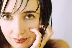 De mooie close-up van het vrouwengezicht Royalty-vrije Stock Fotografie
