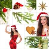De mooie collage van Kerstmis Stock Foto's